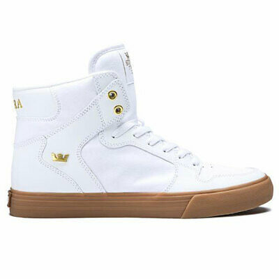 Supra Men's Vaider Hi Top Sneaker Shoes White/Gold-Lt Gum Fo