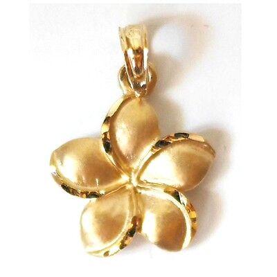 14K Solid Yellow Gold Hawaii Plumeria Flower Pendant/Charm L: 3/4