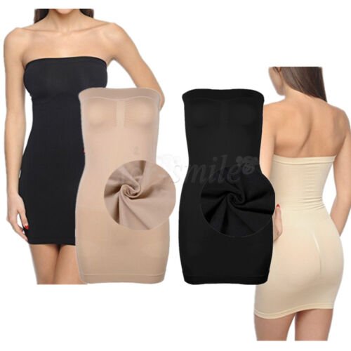 f739571dc1 Women Strapless Full Body Control Slip Tummy Shaper Shapewear Stretch Mini  DressGBP 1.95
