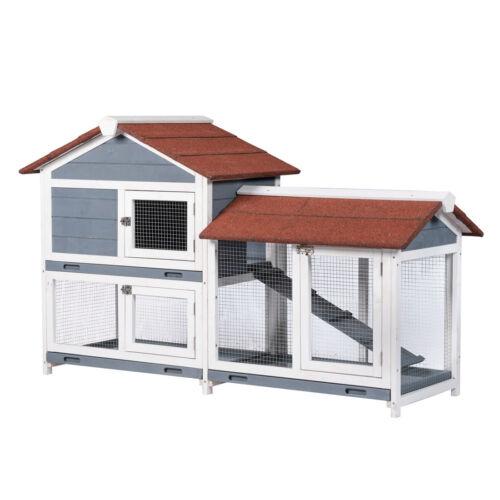 Two Floors Wood Outdoor Indoor Roof Waterproof Bunny Hutch Rabbit Cage PET House