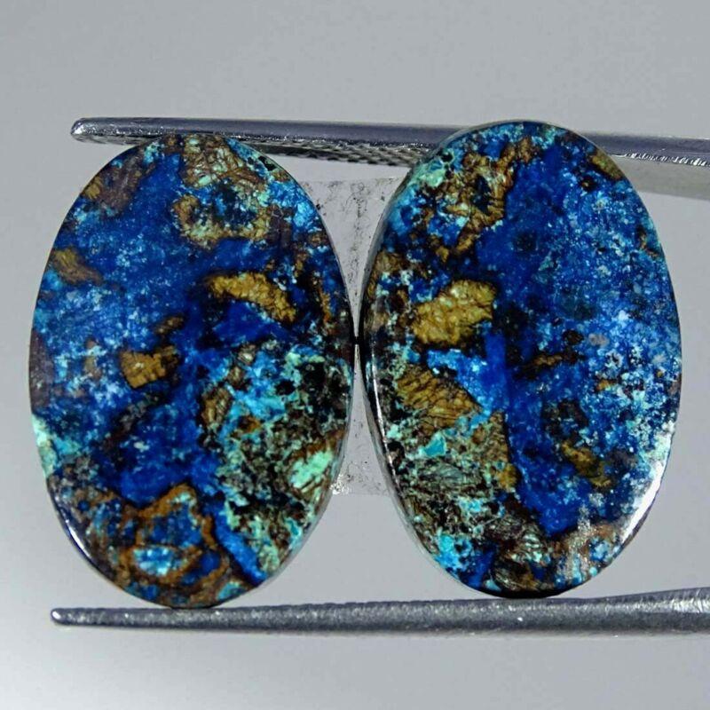 18.60Cts Natural Blue Azurite Oval Pair Cabochon Loose Gemstone