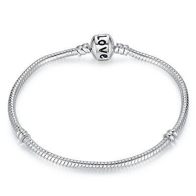 Christmas Bracelets (Wostu European 925 sterling silver LOVE Clasp Bracelet Chain Christmas)