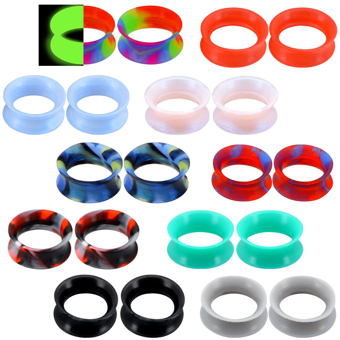 20pcs soft silicone ear gauges flesh tunnels