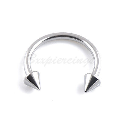 - 5 or 10 lot 14G 16G Circular Barbells Steel Cone Spike Horseshoe Eyebrow Ring