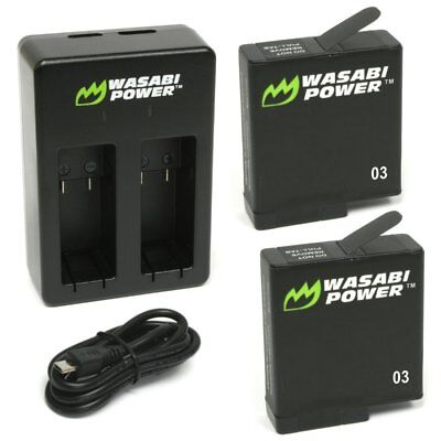 Wasabi Power Battery (2-Pack) & Dual Charger for GoPro HERO7/HERO6/HERO5 Black