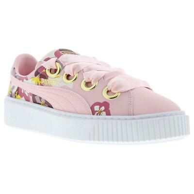 PUMA Platform Kiss X Careaux Ladies Trainers Bow Floral Pink White Womens Shoes