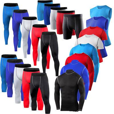 Mens Sports Compression Shorts Pants Shirts Workout Base Layers Running (Mens Running Shirt)
