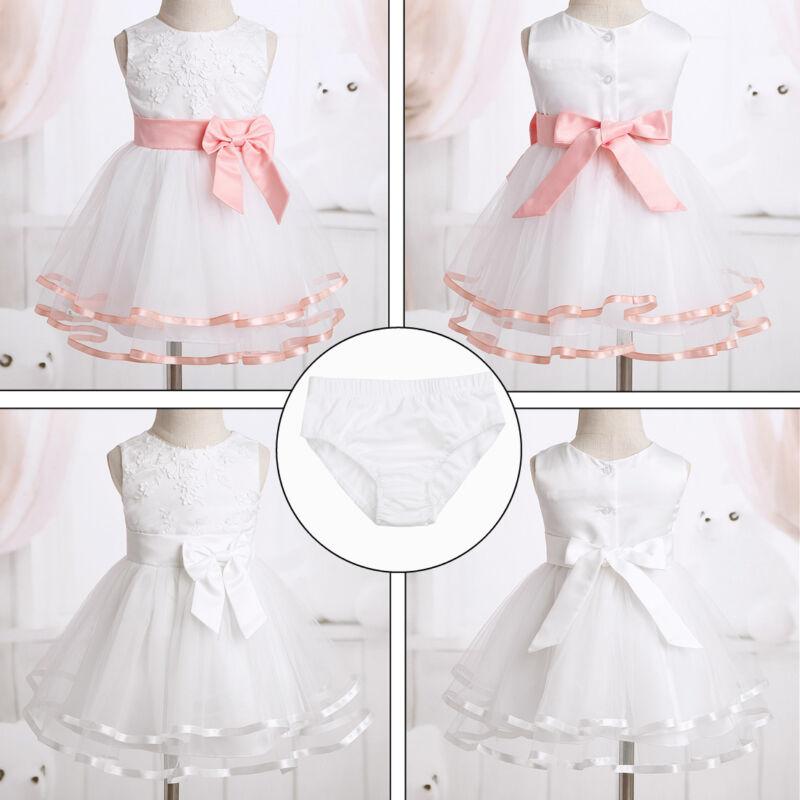 Baby Flower Girls Dress Party Wedding Princess Baptism Formal Tutu Gown+Brief