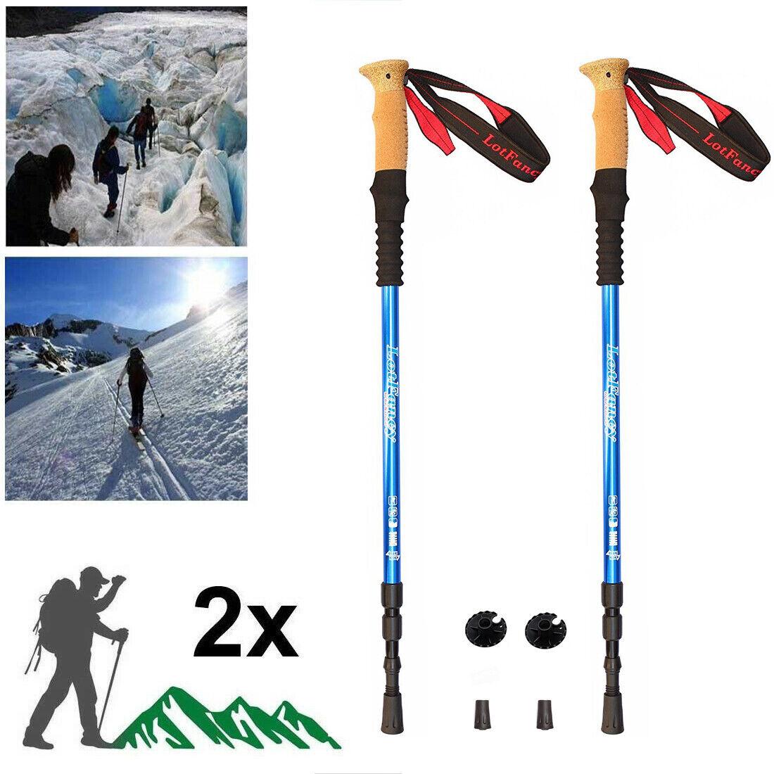Pair 2 Alpenstock Trekking poles Aluminum 7075 Hiking poles