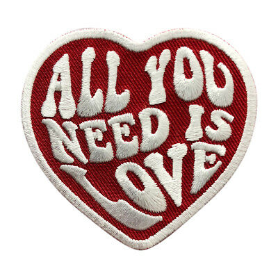 All You Need is Love Heart Embroidered iron on sew on PATCH  - Embroidered Heart