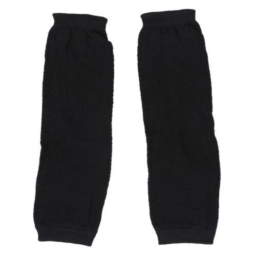 Guanti Lunghi Manicotti maglia senza dita elastico da donna nero U8V6
