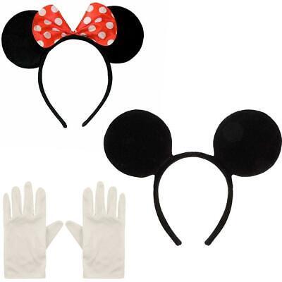 Minnie Mickey Mouse Ears Headband And White Gloves Fancy Dress Disney Headband