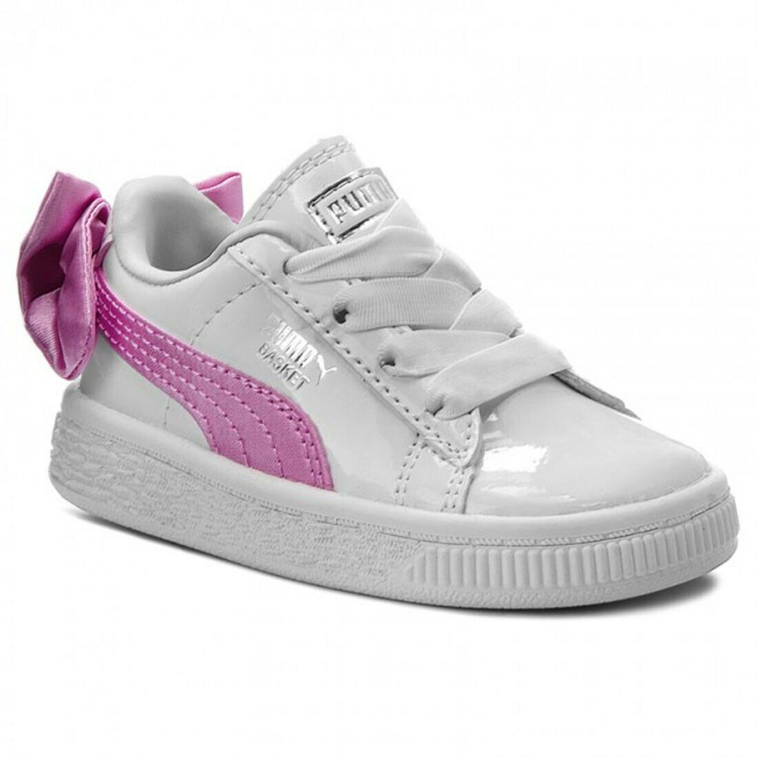 PUMA Basket Bow Patent Infants Trainers Ribbon White Pink Childrens Girls Shoes