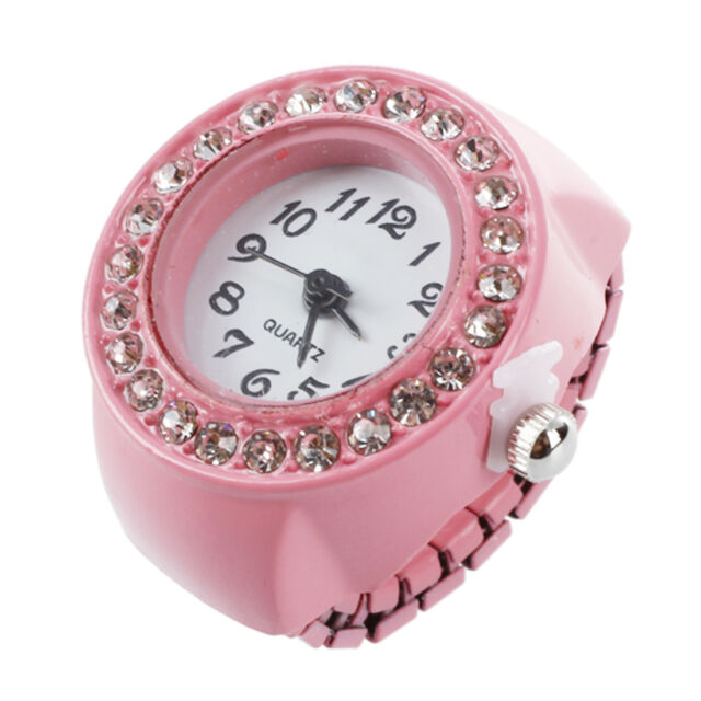Pink Alloy Quartz Pocket Finger Ring Watch Rhinestone Round Dial BF