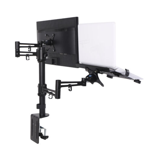 """Loctek Full Motion Dual Monitor mount Desk Laptop Stand fit 27"""" and 15.6"""" Laptop"""