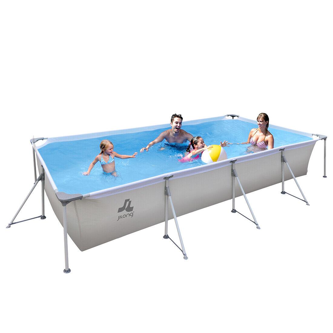 4 x 2m XL Familien Pool Grau Stahlrahmenbecken Garten Schwimmbecken Schwimmbad