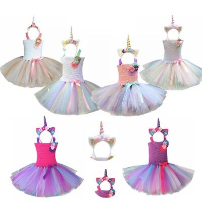 Unicorn Costume Kids Girls Outfit Tops Tutu Dress Rainbow Party Princess Cosplay
