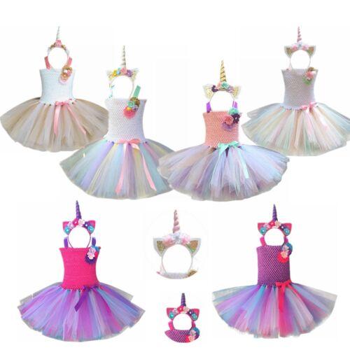 Unicorn Printed Girl Kids Party Tutu Skirt Dress Rainbow Lace Mini Dress Outfits