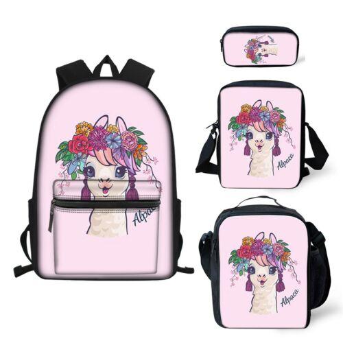 Cute Alpaca Girls Backpack Lunch Box Pen Case Messenger Satc