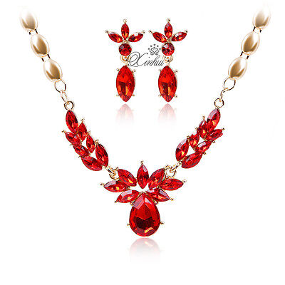 Fashion Red Zircon Necklace Earrings Set Gold Plated Wedding Jewelry Sets for sale  Shipping to Nigeria