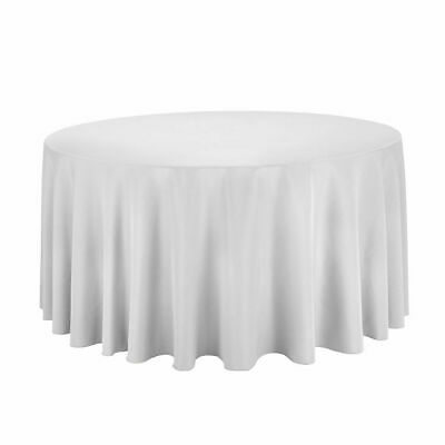 Lot of 10 - 90 inch Round Polyester White Tablecloth Wedding Party Reception