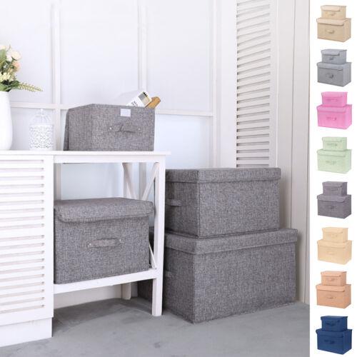 2/4X Aufbewahrungsbox mit Deckel Faltbarbox Leine Aufbewahrungs Korb Kleidung