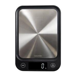 Salter Digital Kitchen Scales Electronic Ultra Slim Design Black + Steel 1068