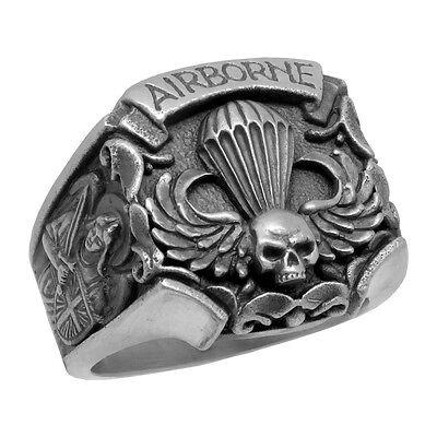 St Michael Sterling Silver US Army Airborne Parachutist Skull Biker mens Ring