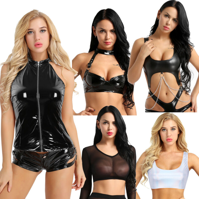 6202469021 Plus S-3XL Women Leather Micro Mini Skirt Sexy Bodycon Lingerie Club Party  Dress