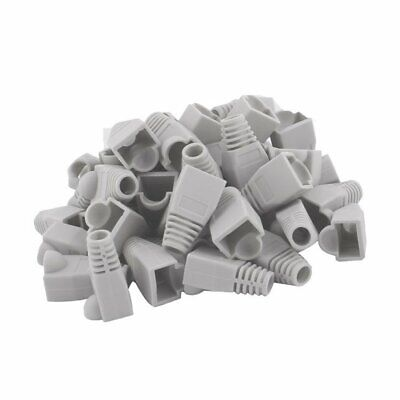 100 pcs Cat5e/Cat6/RJ45 Ethernet Cable Connector Strain Relief Boots Gray