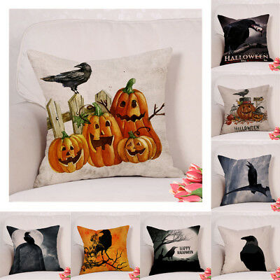 Happy Halloween Crow Pillow Case Cotton Linen Sofa Cushion Cover Home Decoration