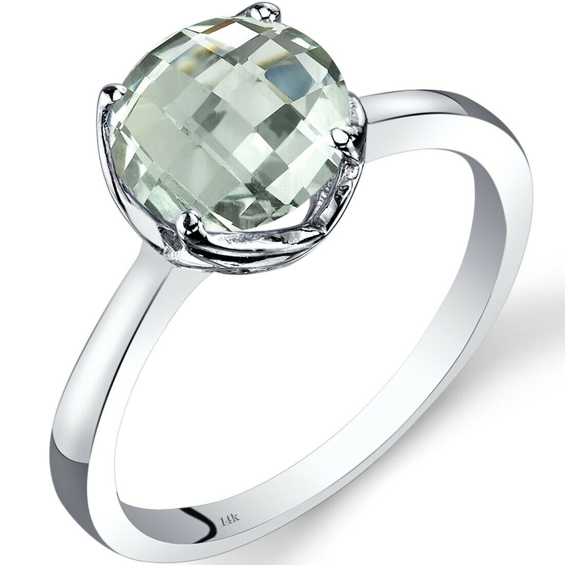 14K White Gold Green Amethyst Diamond Ring 1.75 Carat Round Cut Size 7