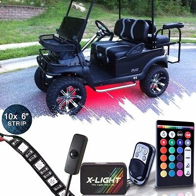 10pc Golf Cart Underbody Glow LED Lighting Kit | 18-Color Accent Neon Strip