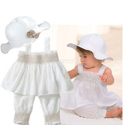 White Baby Girl Clothes 0-3 6-9 12-18 24 Months White Summer Dress 3 Pcs Set