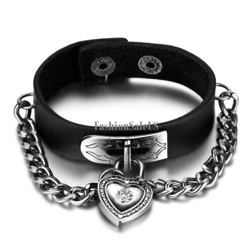 Punk Rock Biker Heart Lock Leather Cuff Bracelet Men's Adjustable Cool Wristband