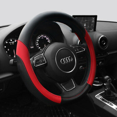 15'' PU Leather Car Truck Steering Wheel Cover Universal Fit Protection M Red