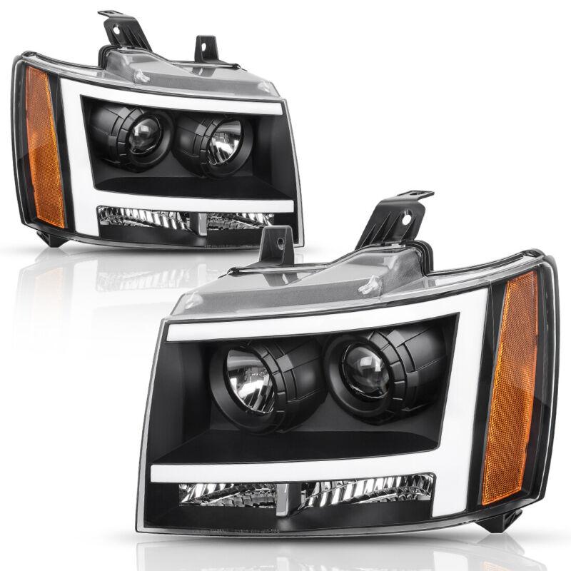 2007-2013 AVALANCHE//SUBURBAN//TAHOE PICKUP HALO LED PROJECTOR HEAD LIGHT+BLUE DRL