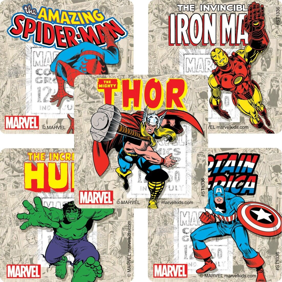 "25 Marvel Comics Stickers, Assorted, 2.5"" x 2.5"" each, Party"