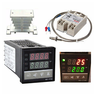 Pid Rex-c100 Temperature Controller Set Ssr 40da K Thermocouple Heat Sink
