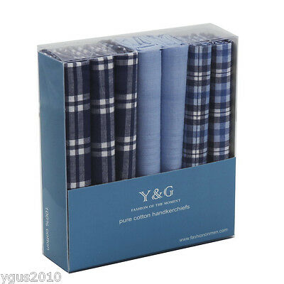 YEC0107 Fashion Blue Hanky 7 Piece In Gift Pack Mens Cotton Handkerchiefs By Y&G