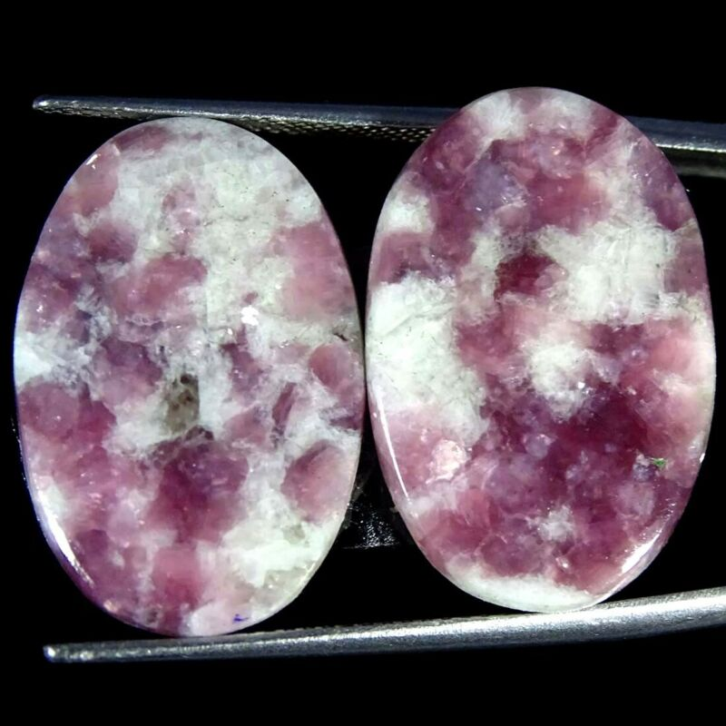 22.80Cts Natural Lepidolite Oval Pair Cabochon Loose Gemstone