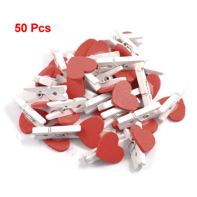 New 50Pcs Red Heart Accent White Wooden Spring Clothespins Memo Clips HY