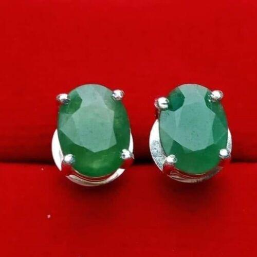 1 pair, Green Jade Jadeite Type A  Face Cut Earring Gemstone from Burma, A+++