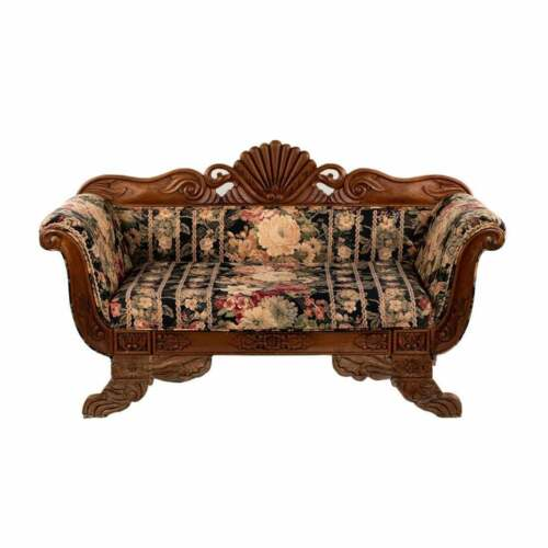Settee, Victorian Shell Carved Medallion Back, Gorgeous Bright Colors!! Antique
