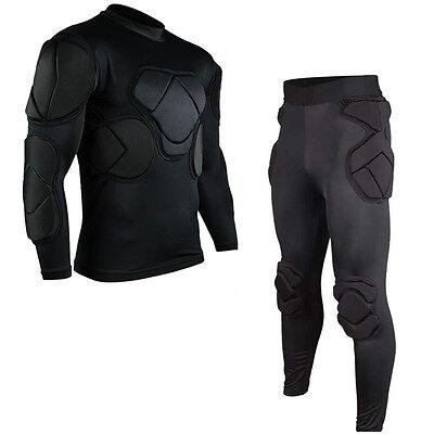 Men Soccer Football Goal Keeper Goalie Foam Padded Long Pants Jersey Shirts