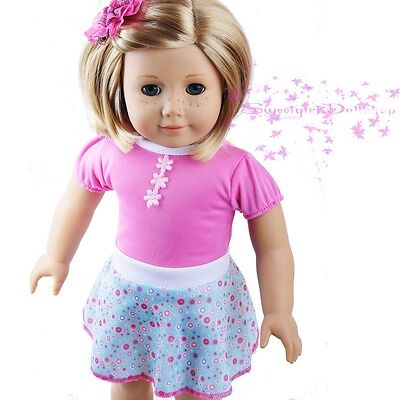 """New Handmade For American Girl Cute Pink Floral Skirt Dress 18"""" Doll Clothes on Rummage"""