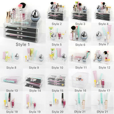 Clear Acrylic Lipstick Jewelry Holder Display Box Cosmetic Makeup Case Organizer