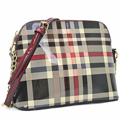 Dasein Women Plaid Design Patent Leather Crossbody / Messenger Strap Bag (Patent Leather Messenger)