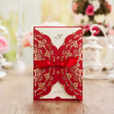 Wedding Invitations With Ribbon (Red Laser Cut Wedding Invitation Card Kit with Ribbon+Free Personalized Printing )