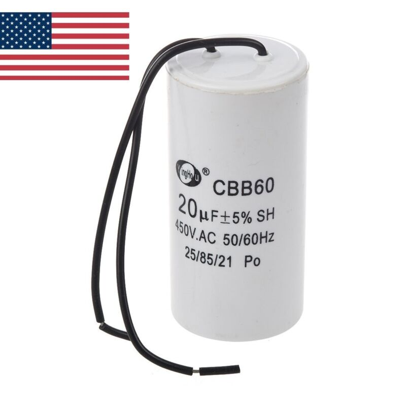 US CBB60 20uF Wire Lead Cylinder Motor Run SH Capacitor AC 450V
